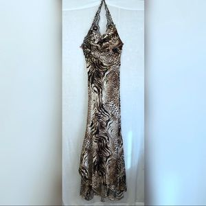 Evenings Allure Fitted Animal Print Evening Gown 4